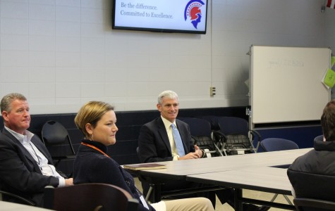 Superintendent Dr. Hansen, Assistant Principal Mrs. Fellmeth, and Marquette President Dr. Lovell during the meet-and-greet on November 9