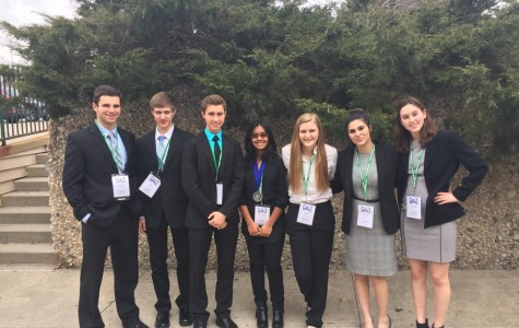 DECA team won multiple awards at the state competition. Pictured here from left are Danny Smerz, Joe Adams, Zander Roeschen, Anouska Sivaa, Katie Andrews, Malak Badwin, and Emma Woods.
