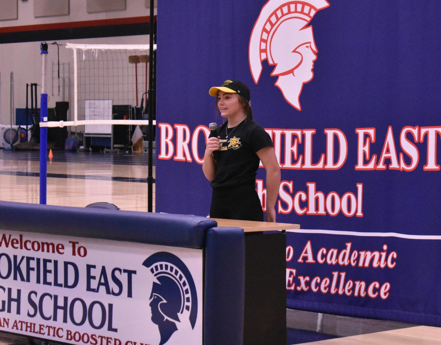 Shea Lauria (12) describes her plans at Wichita State
