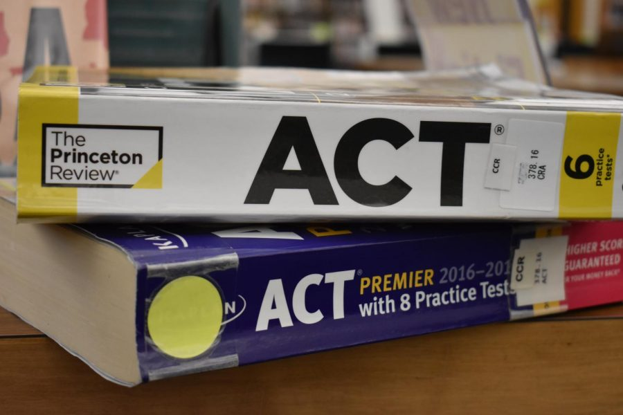 ACT Prep Books typically used by students, found in the library.